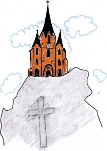 Illustrasjon kirken på klippen