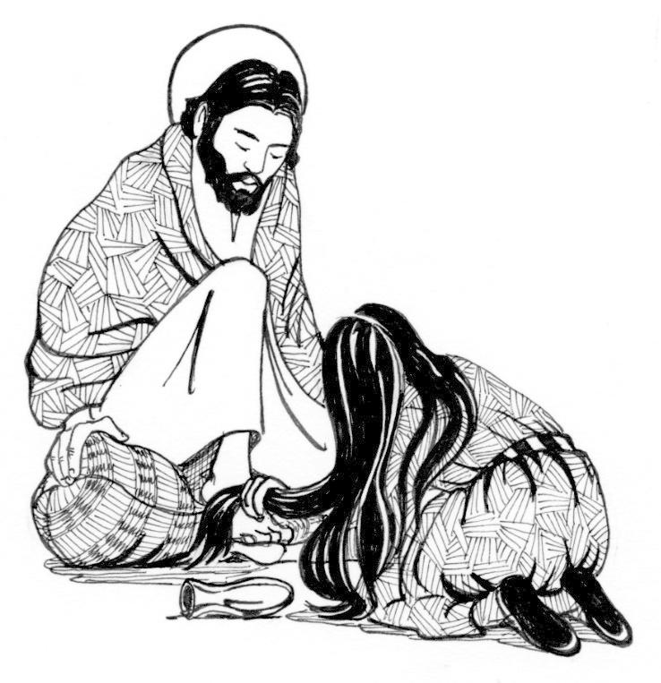 Maria vasker Jesu føtter